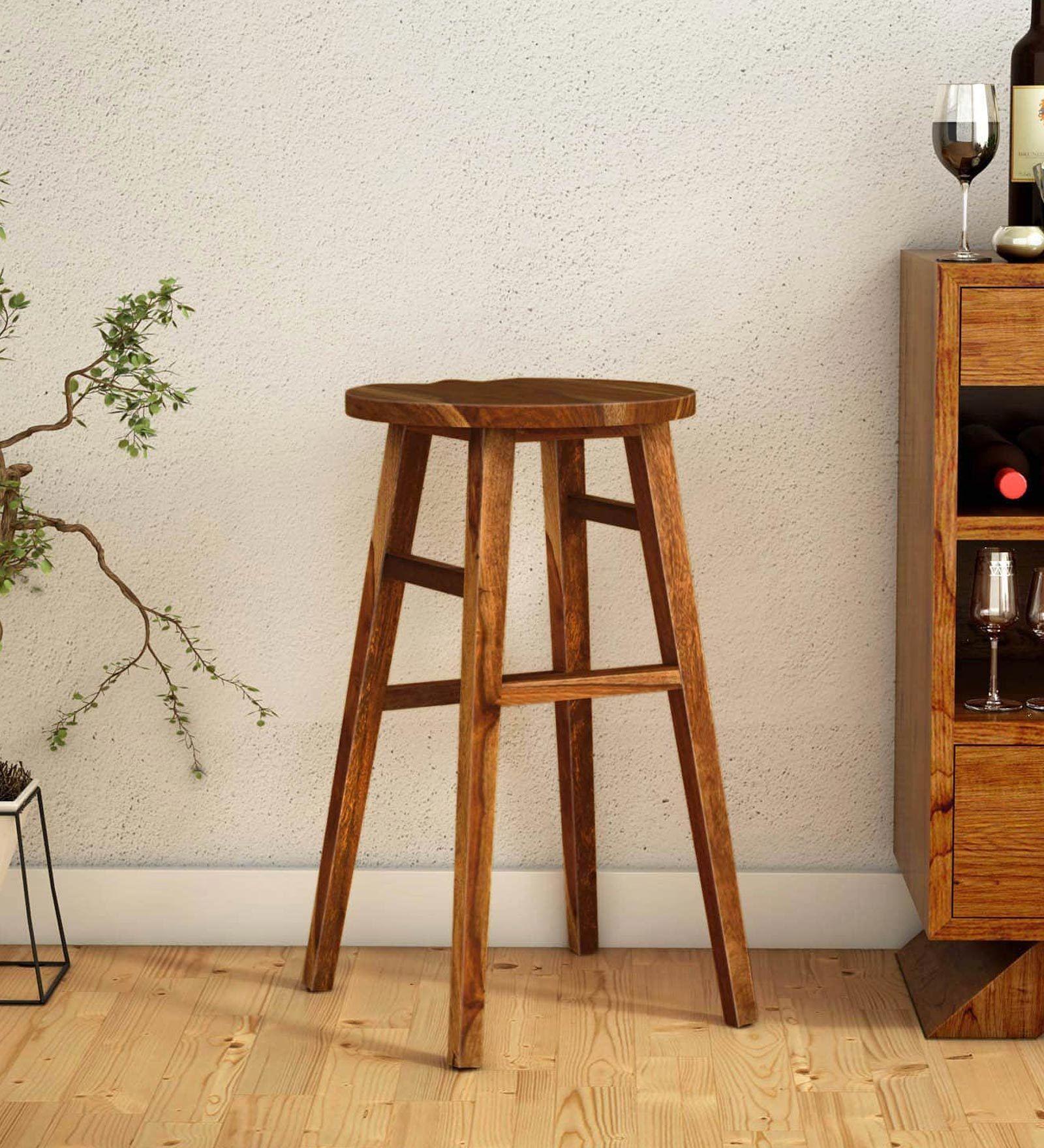 Harrington Solid Wood Bar Stool In Rustic Teak Finish By Woodsworth In 2020 Wood Bar Stools Bar Furniture Lounge Furniture