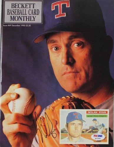 Rangers Nolan Ryan Authentic Signed 1990 Beckett Magazine Psa Dna Q12393 In 2021 Baseball Cards Nolan Ryan Baseball