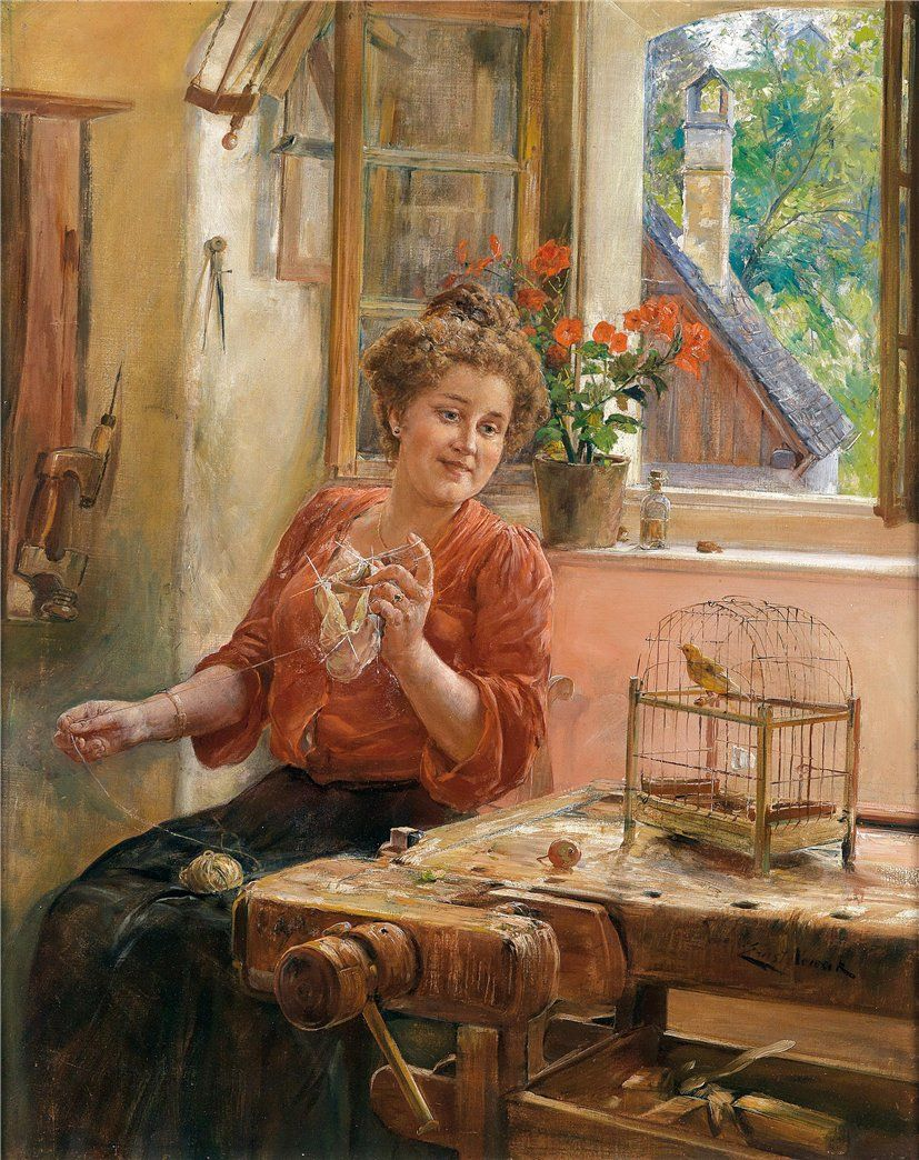 Lady Knitting at the Window with Canary (Ernst Nowak)