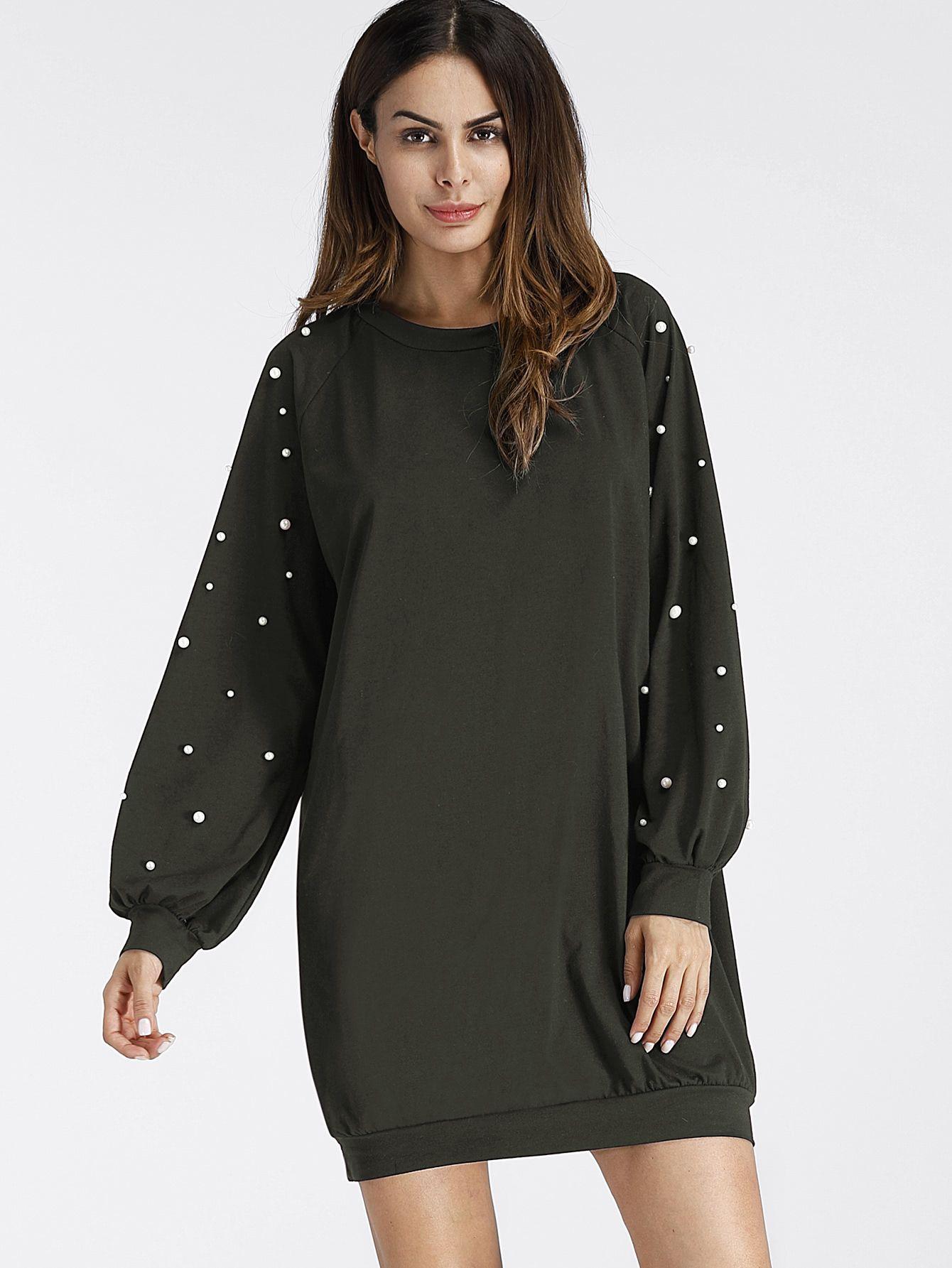 prix limité hot-vente plus récent caractéristiques exceptionnelles Robe Sweat-shirt avec perle -French SheIn(Sheinside ...