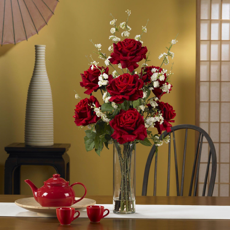 Nearly Natural Roses Cherry Blossoms Silk Flower Arrangement Silk