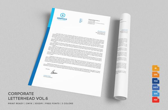Corporate Letterhead  With Ms Word By Nazdrag On Creative Market