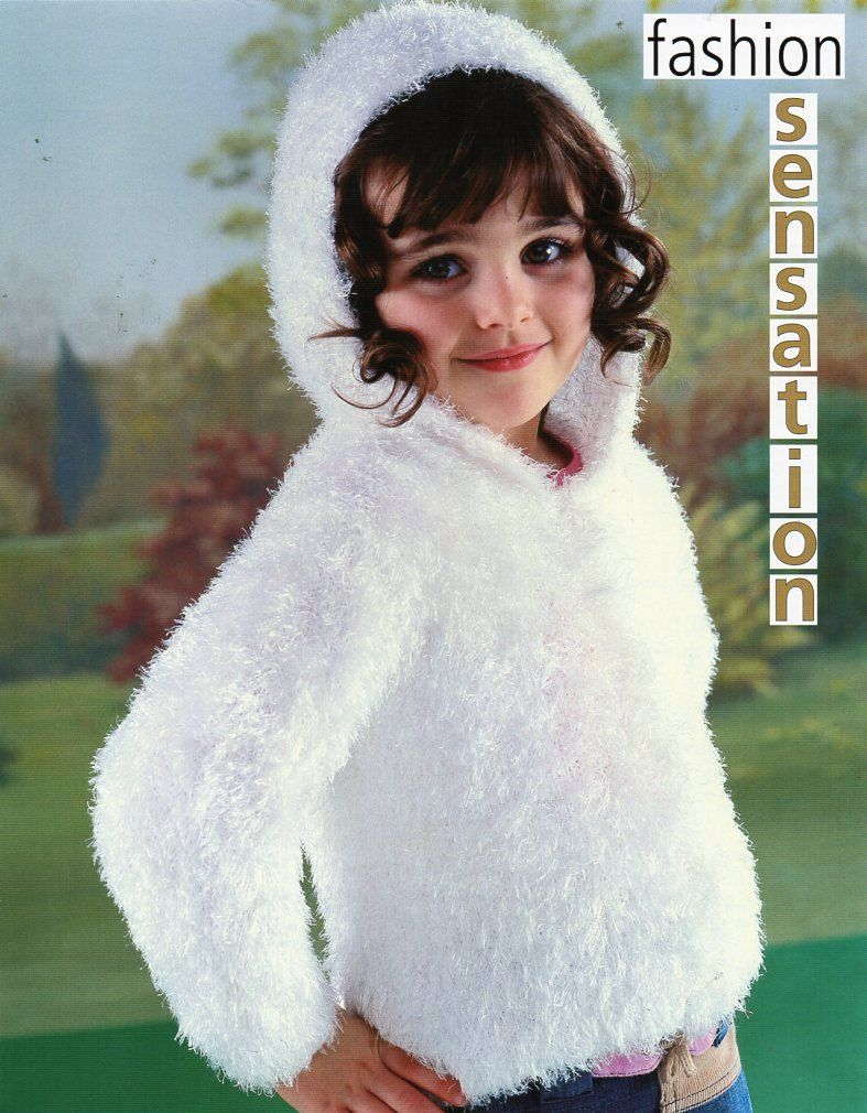 Childs / childrens furry hooded jacket Knitting Pattern PDF 10Ply ...