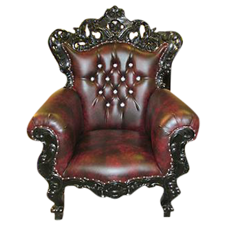 Leather Ornate Armchair on Chairish.com