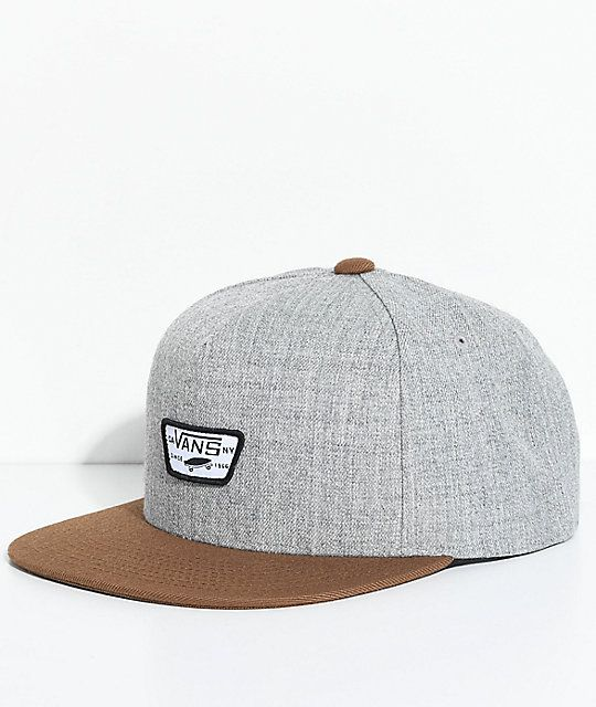 116b2e8e94 Vans Full Patch II Grey   Brown Snapback Hat in 2019