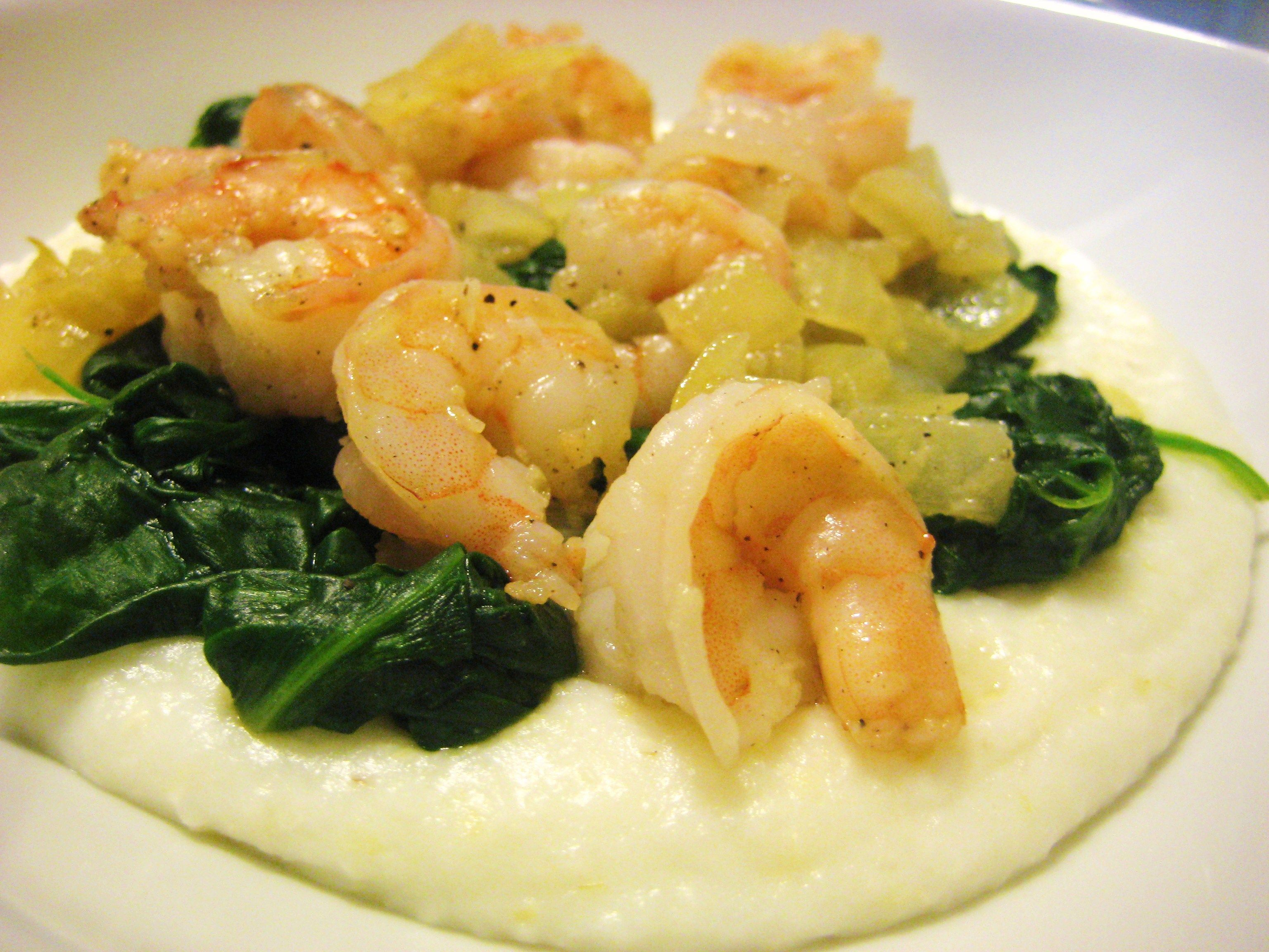 Shrimp and Grits with Spinach