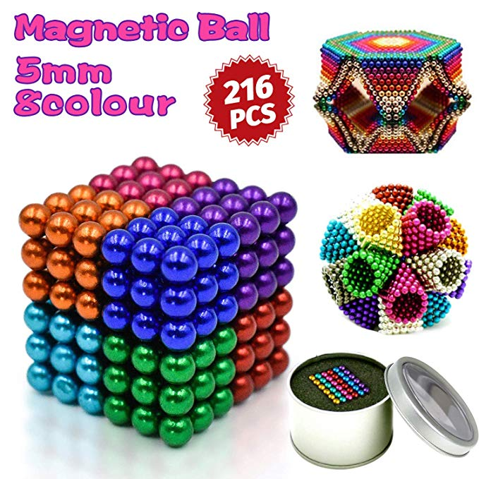 Sky Magnets 5mm Magnetic Balls Cube Fidget Gadget Toys Rare Earth Magnet Office Desk Toy Games Magnet Toys Multicolor Beads Stress Relief Toys for Adults Nickel