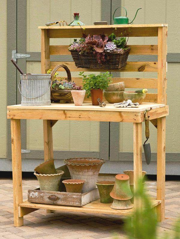 Garten Tisch Pflanzen-Holz Paletten Pflanztisch aus Paltetten - garten bett selber bauen