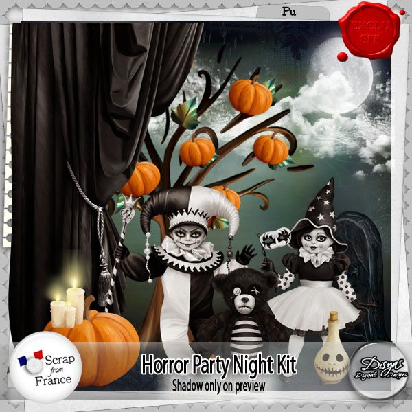 HORROR PARTY NIGHT KIT - FULL SIZE Come and join us at the Halloween Party with this fantastic scrapkit. This will be an horror party night full of fun and fantasy. Have fun, and enjoy a special Party Night. Personal use, exclusive item for Scraps From France.