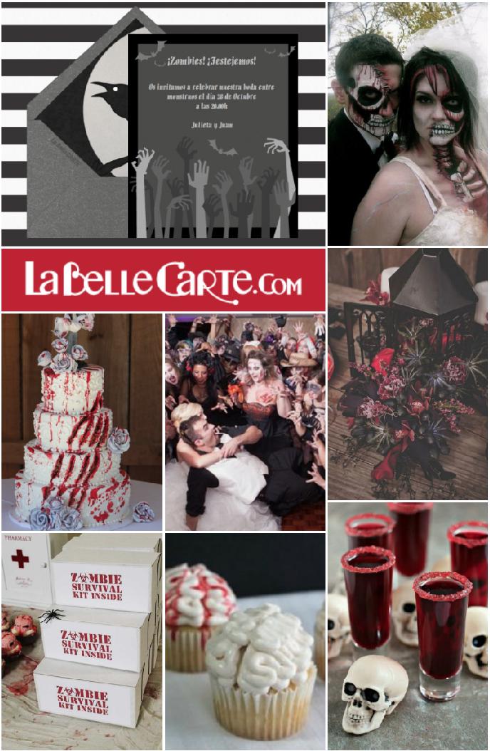 Invitaciones de boda, Invitaciones para boda, fiesta de zombies, boda de zombies  Para Más Info Visita: www.LaBelleCarte.com  Online wedding invitations, online wedding cards, halloween wedding, halloween wedding ideas, zombies wedding, zombies wedding theme  For More Info Visit: www.LaBelleCarte.com/en