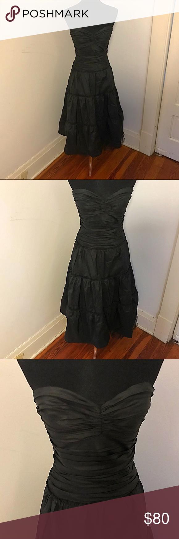 Black strapless bcbg taffeta formal dress formal bcbgmaxazria