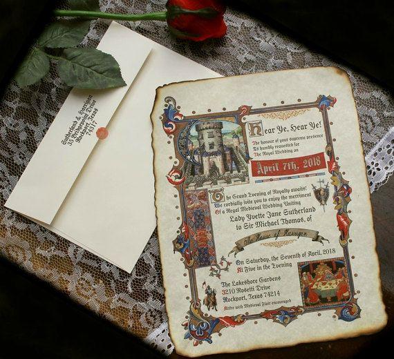 Qty 50 Medieval Renaissance Royal Aged Scroll Wedding Invitations