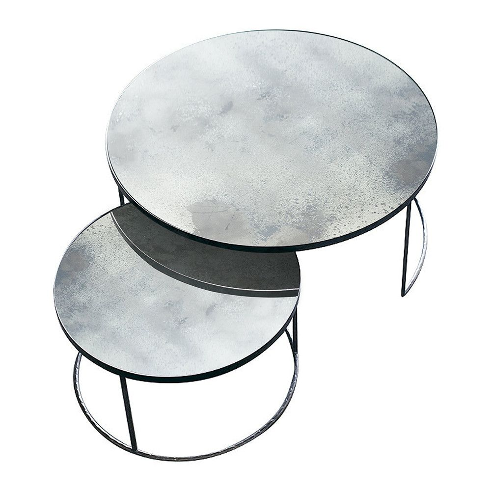 Heavy aged mirror coffee table set round clear mirrored heavy aged mirror coffee table set round clear geotapseo Gallery
