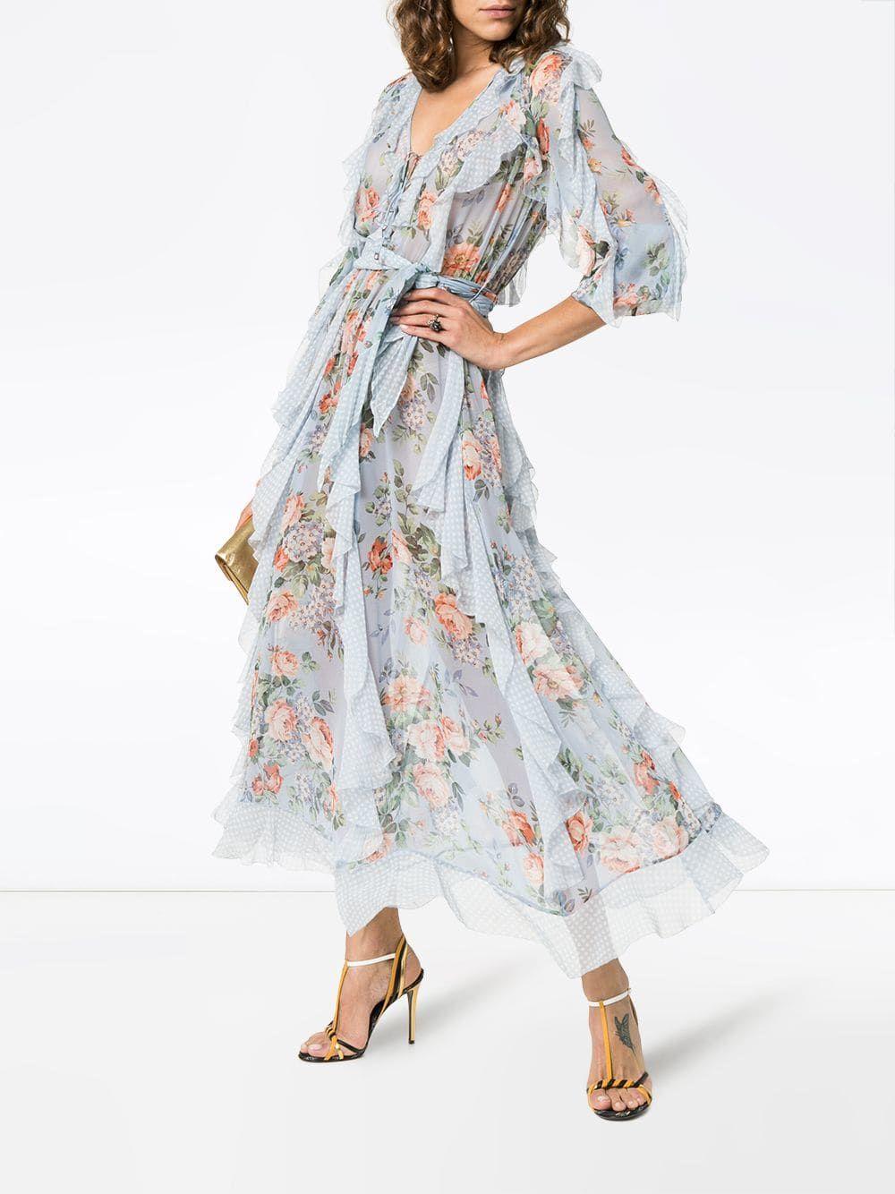 Size S UK Zimmerman Style Chiffon Ruffle Print Dress M L