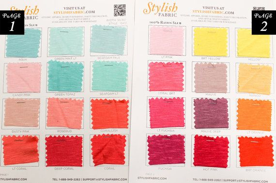 Slub Rayon Jersey Knit Fabric Single Color Swatch Sample Card