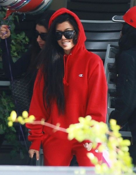 Reality star Kourtney Kardashian rocks an all red ensemble while celebrating her friend's birthday at Lovis Restaurant in Calabasas, California on January 9, 2017. It's back to business as usual for Kourtney who recently returned from a winter getaway in Aspen.