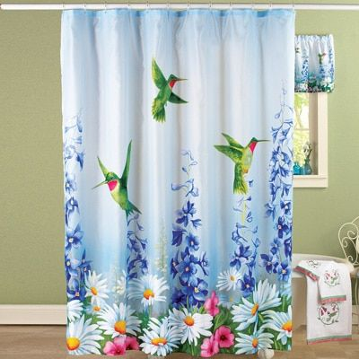 Garden Bliss Hummingbird Shower Curtain With Images Fabric