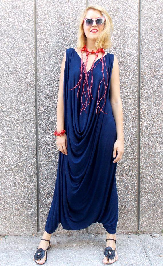 eeab0c6446 Navy Maxi Jumpsuit with Necklace and Bracelet   Plus Size Maxy Jumpsuit    Summer Navy Jumpsuit TJ05