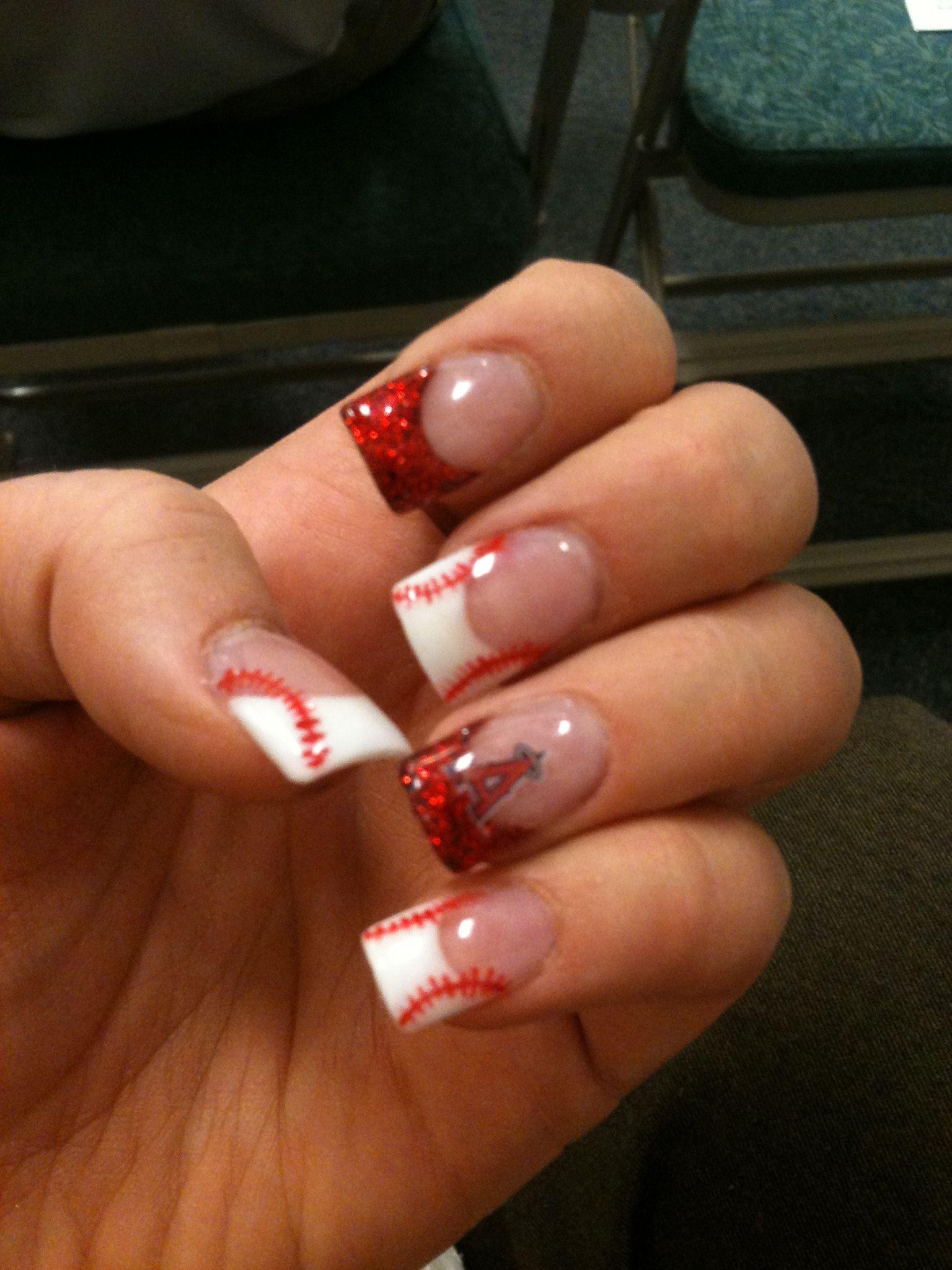 Angels Baseball nails... I would so do this. Lol | Nails | Pinterest ...