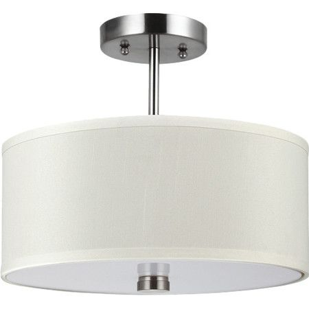 Illuminate your foyer or dining room in traditional style with this sleek semi-flush mount, featuring a drum shade and brushed nickel finish.
