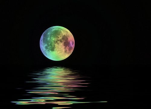 """RAINBOW MARBLE MOON: """"And He set the rainbow in the sky as a sign of the ETERNAL  covenant between Him and mankind that He would NEVER  again destroy the earth by water.""""-- Breishit"""