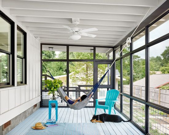 Beach Style Porch With Awesome Hanging Hammock Bed Also White Blade Ceiling Fan Also White Floor Board And Backyard Hammock Hammock In Bedroom Indoor Hammock