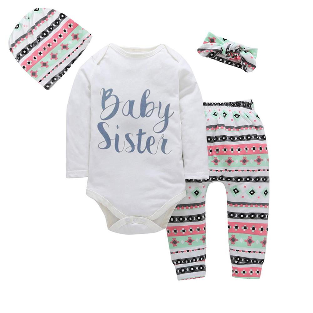 8dd0fd3b7f92 4PCS Newborn Baby Girl Clothes 2017 Autumn Long Sleeve Letter Print Romper  Tops+Pant Hat Headband Outfit Toddler Kids Clothing  diva  divakids   purchase ...