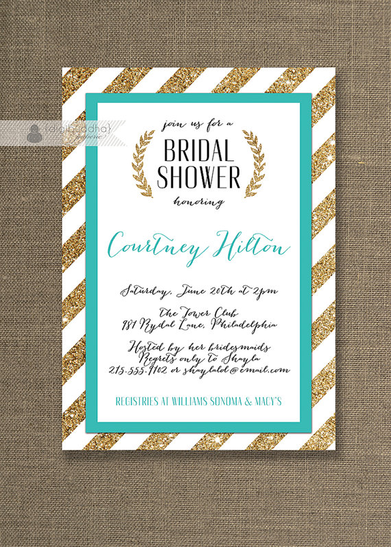 teal gold bridal shower invitation gold glitter turquoise blue wedding script modern courtney style available at digibuddhacom