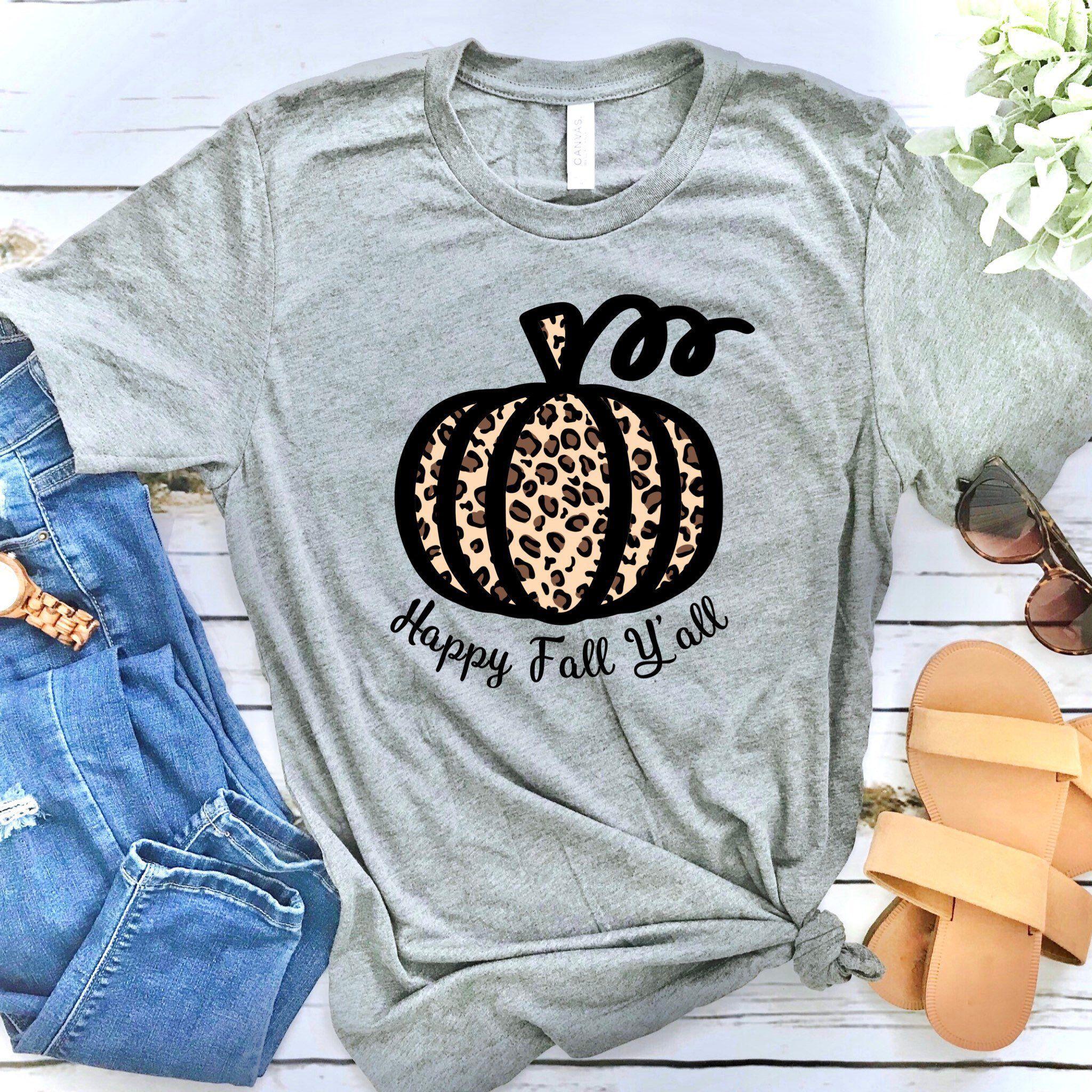 Halloween Its Fall Yall Pumpkin Shirts for Women Cute Graphic Tees Casual Short Sleeve Fall T Shirt