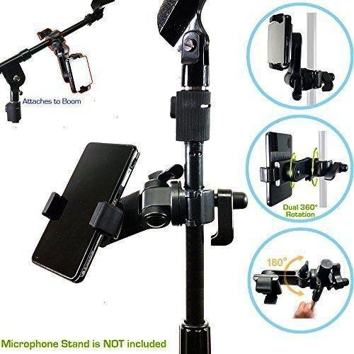 Boom Mic Microphone Stand Smartphone Mount w/360° Swivel Adjust Hol... AccessoryBasics Music Mic