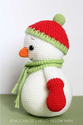 Crochet Amigurumi Snowman PATTERN ONLY, Happy, Christmas Snowman pdf ...