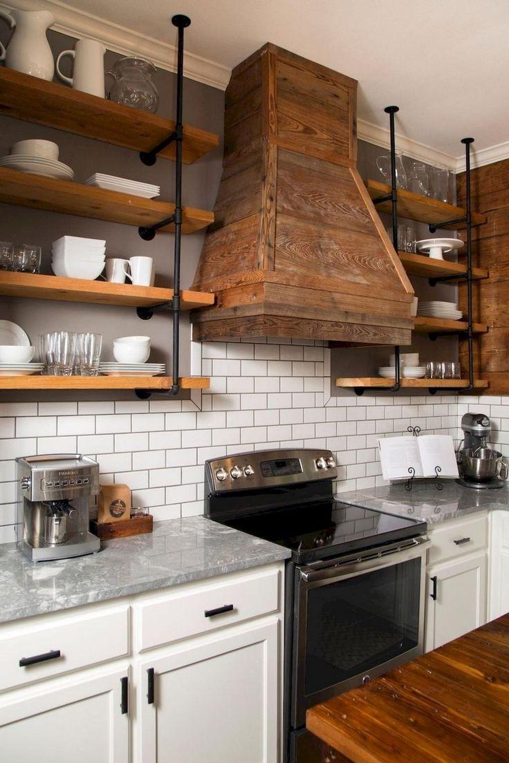 55 beautiful farmhouse kitchen backsplash decor ideas page 22 of 57 rustic farmhouse on farmhouse kitchen open shelves id=16966