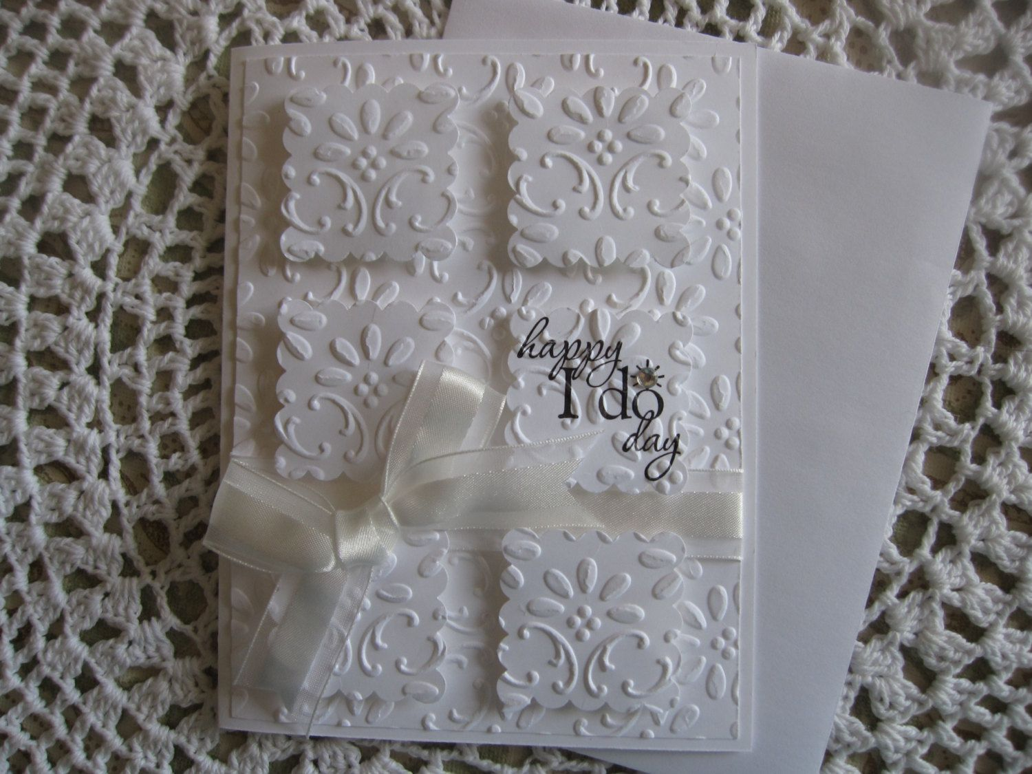 embossed wedding invitations Handmade Greeting Card Embossed Wedding Happy I Do Day