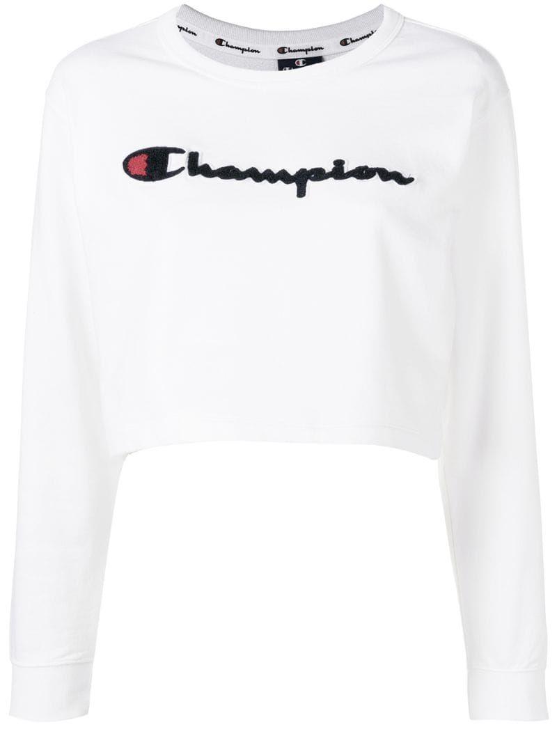 Champion Cropped Logo Sweatshirt Farfetch White Sweatshirt Sweatshirts Cropped Hooded Sweatshirt [ 1067 x 800 Pixel ]