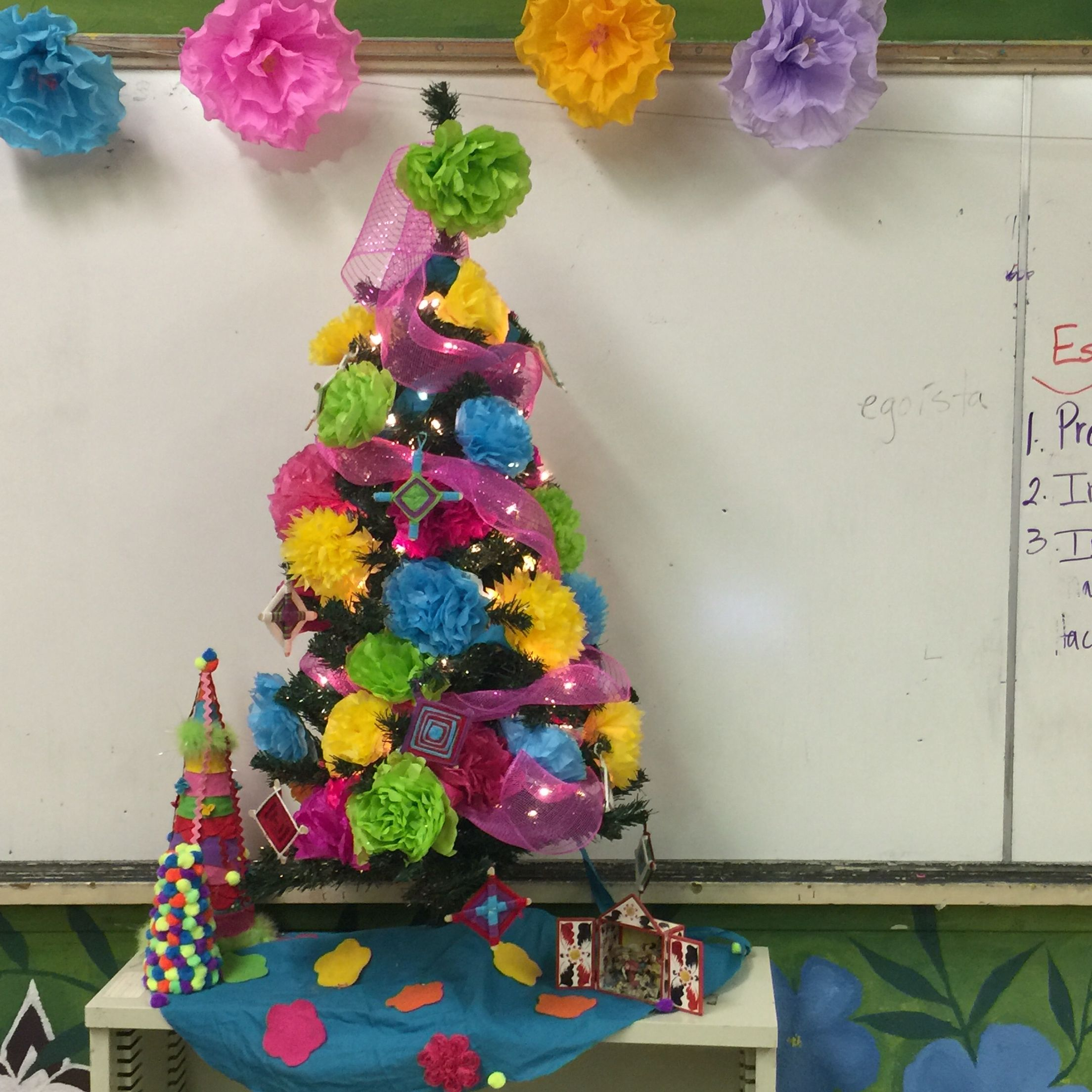 Mexican Christmas Tree Made From Paper Flowers And Ojo De