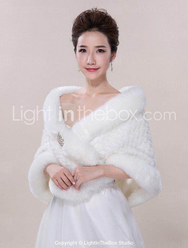 Wedding Wraps / Fur Wraps Shawls Sleeveless Faux Fur Ivory Wedding / Party/Evening / Casual 2017 - $28.59
