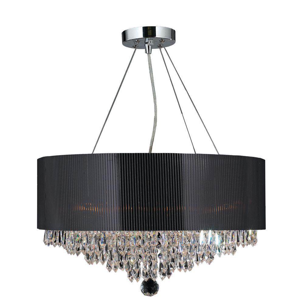Worldwide Lighting Gatsby Collection 8 Light Polished Chrome And Clear Crystal Chandelier With Drum Shade W83137c20 The Home Depot Drum Shade Crystal Chandelier Clear Light Bulbs