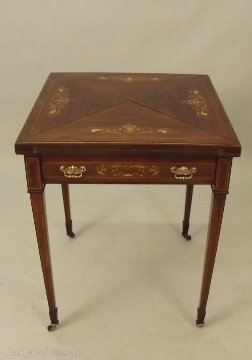 Victorian Marquetry Inlaid Rosewood Envelope Table 2nd 1 Antiques Atlas Antiques Table Card Game Table