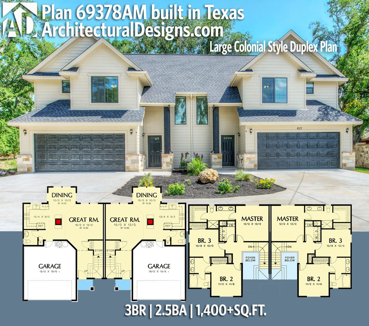 Plan 69378am Large Colonial Style Duplex Plan Family House Plans Duplex Plans Duplex Floor Plans