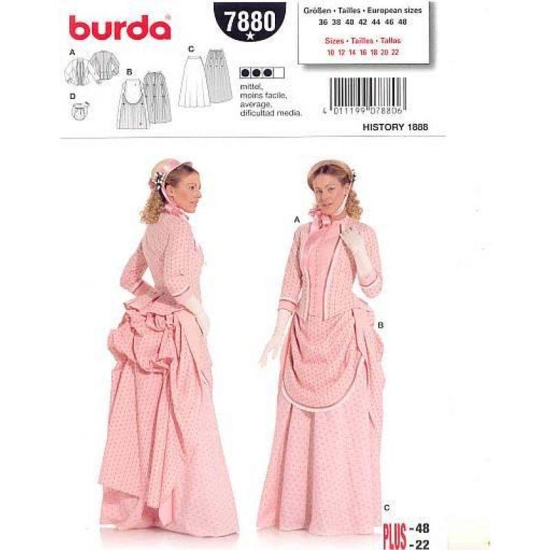 Burda 7880 Historisch Gr. 36-48 | Nähclub | Pinterest | Kleider ...