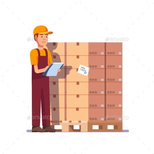 Warehouse Worker Checking Goods On Pallet  Warehouse Worker Flat