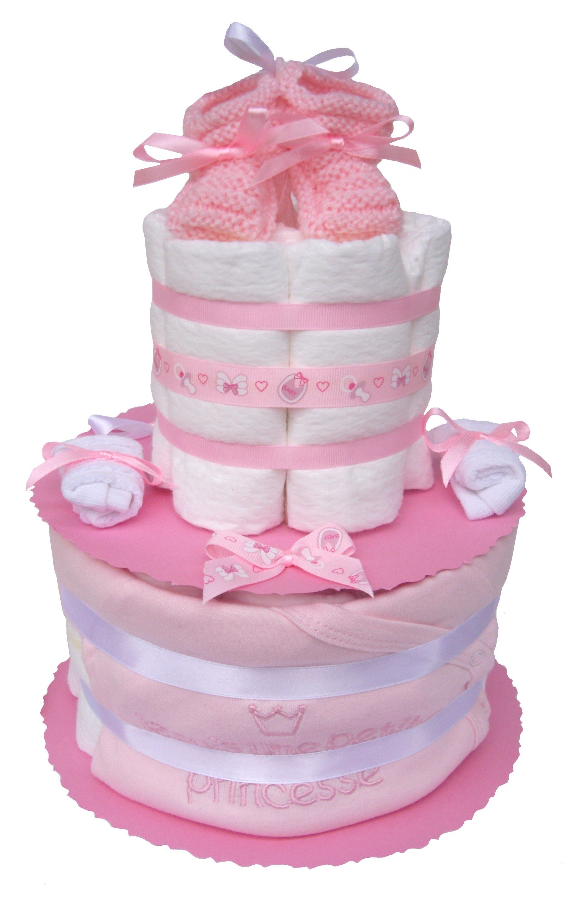 Cadeau pour une petite baby princesse en couches pampers g teau de couches b b fille - Couche naissance pampers ...