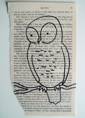 Love the idea of an old book page with a simple black ink drawing on it framed for the wall.