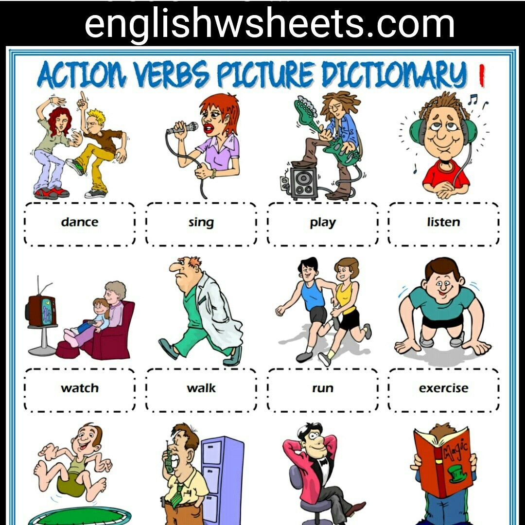 Action Verbs Esl Printable Picture Dictionary For Kids 5 Sets