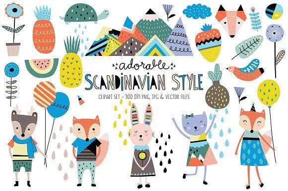 Cute Scandinavian Animals Designs Animal Design Illustration Scandinavian Style Design Elements