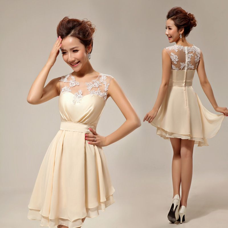 Vestidos de novia color beige cortos