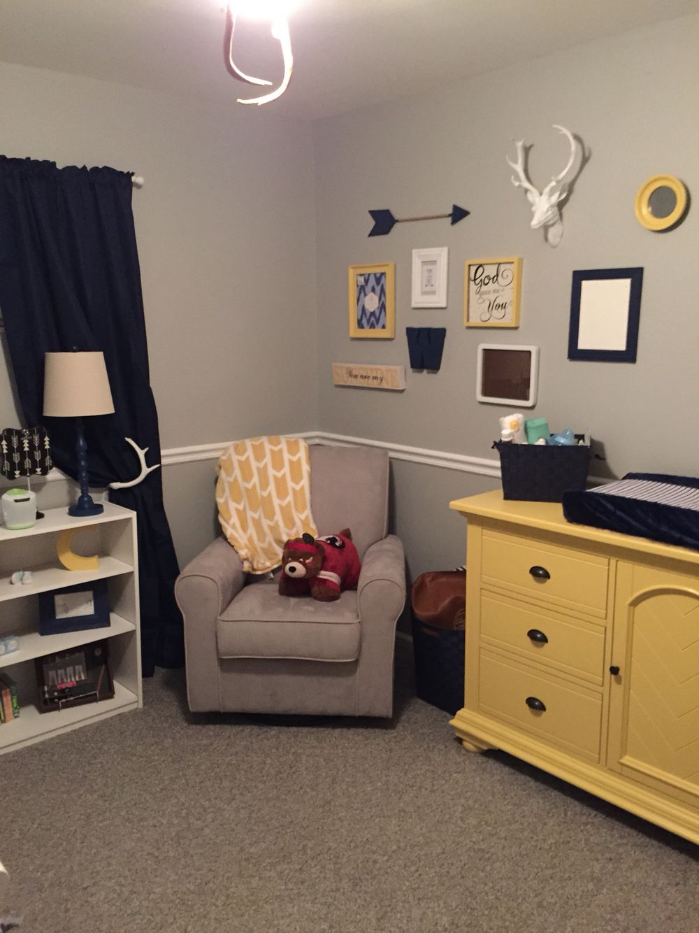 Vintage Baby Boy Nursery Ideas: Navy, Yellow & Gray Baby Boy's Nursery. This Decor Is