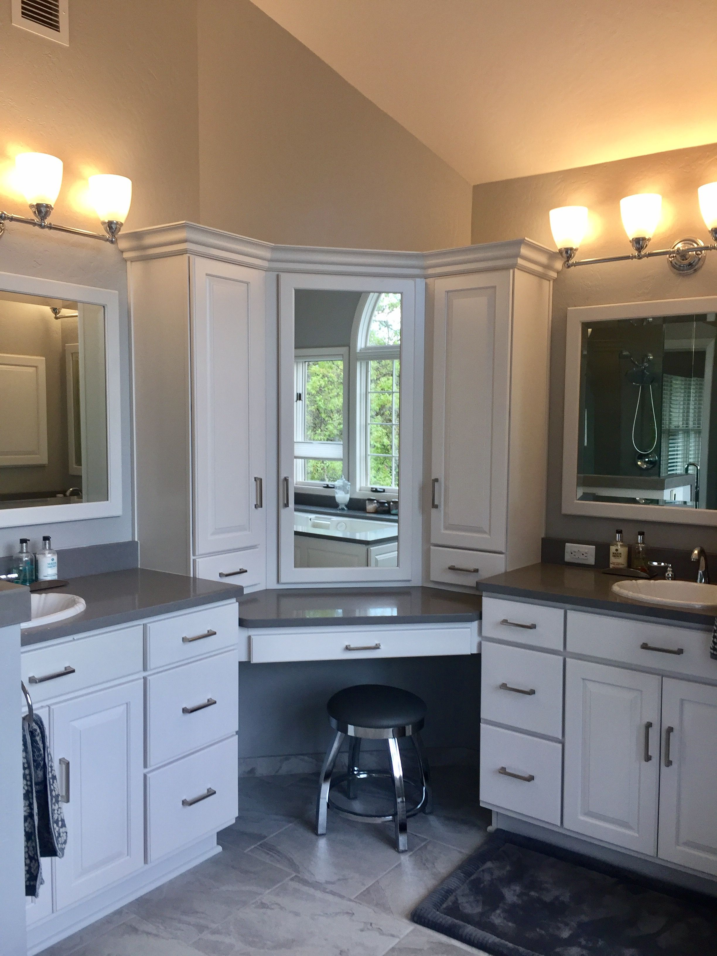 Corner vanity pebble caesarstone i designed with canyon creek cabinet distributor the bathroom and this corner vanity to hide all of my make up