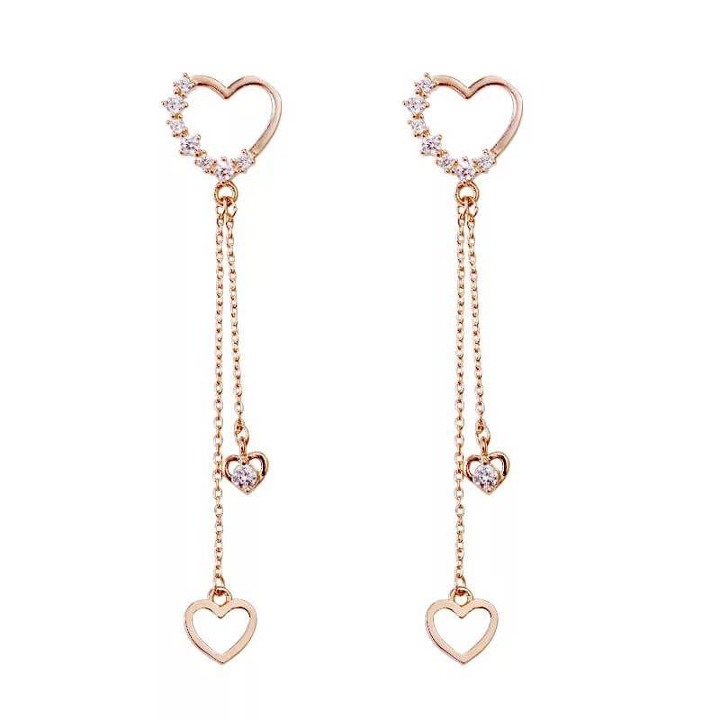Falling Hearts Earrings In 2021 Heart Earrings Earrings Pendant
