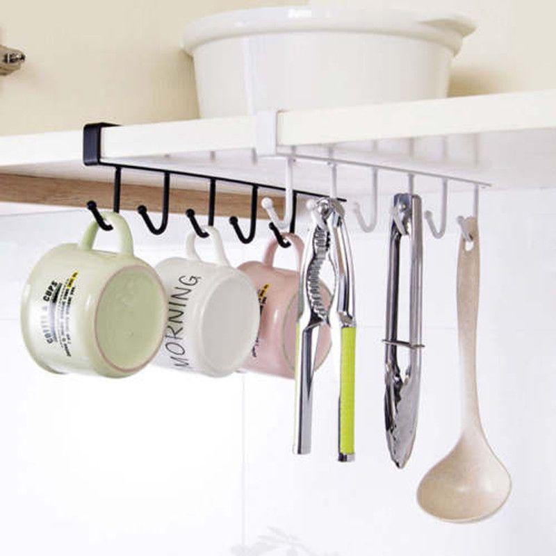 Home Under-Cabinet Hanger Rack 6 Hooks Kitchen Cupboard Storage Shelf Hook